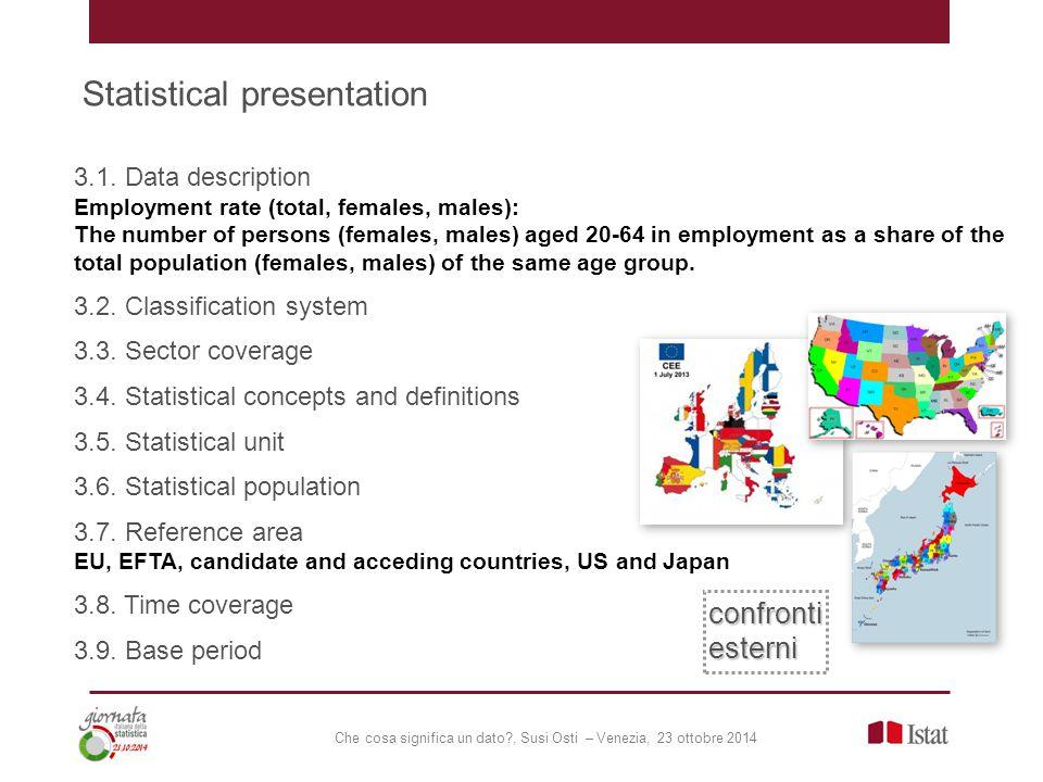 Che cosa significa un dato?, Susi Osti – Venezia, 23 ottobre 2014 Statistical presentation 3.1. Data description Employment rate (total, females, male