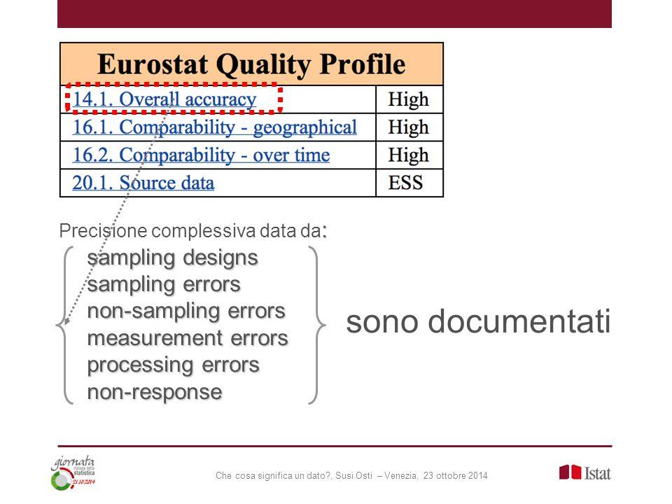 Che cosa significa un dato , Susi Osti – Venezia, 23 ottobre 2014 : Precisione complessiva data da : sampling designs sampling errors non-sampling errors measurement errors processing errors non-response sono documentati