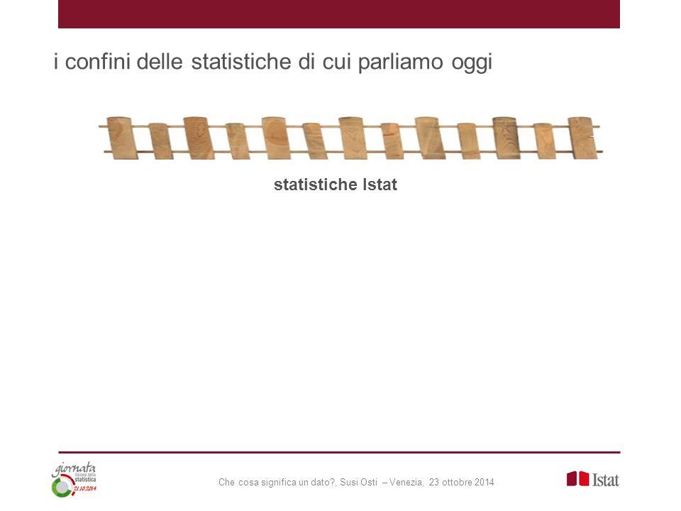 Che cosa significa un dato?, Susi Osti – Venezia, 23 ottobre 2014 i confini delle statistiche di cui parliamo oggi statistiche Istat