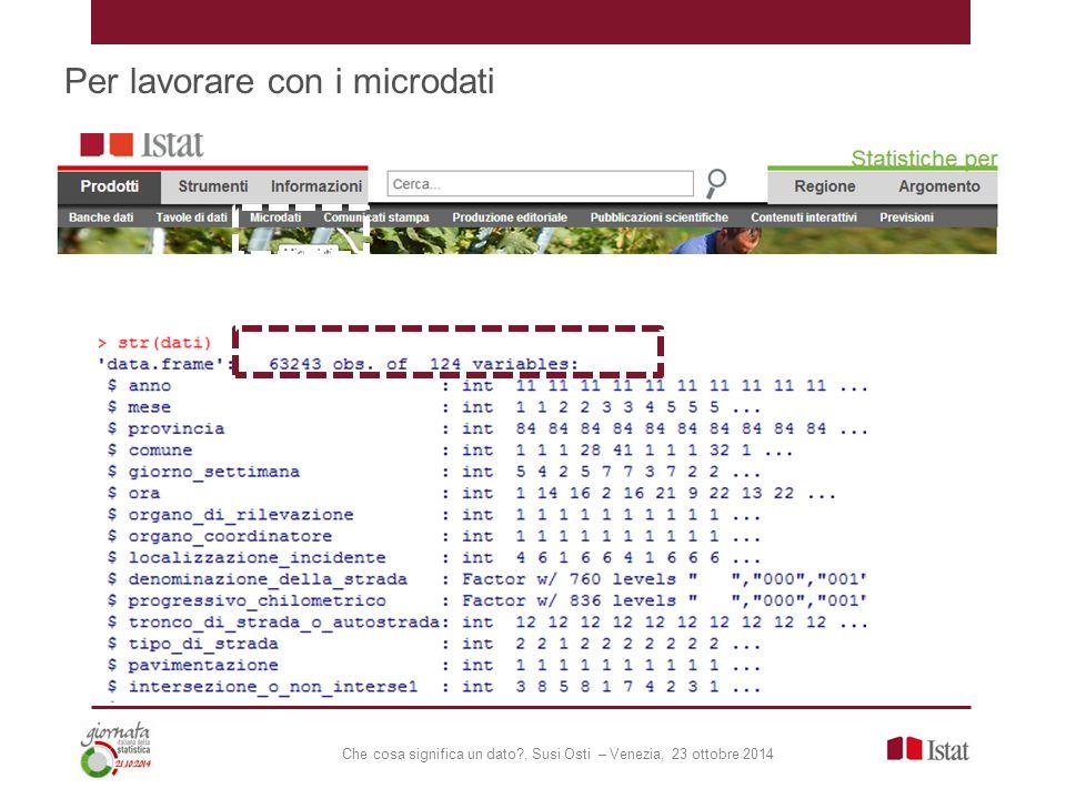 Che cosa significa un dato , Susi Osti – Venezia, 23 ottobre 2014 Per lavorare con i microdati