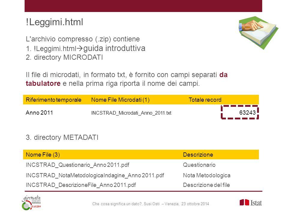 Che cosa significa un dato , Susi Osti – Venezia, 23 ottobre 2014 L archivio compresso (.zip) contiene 1.