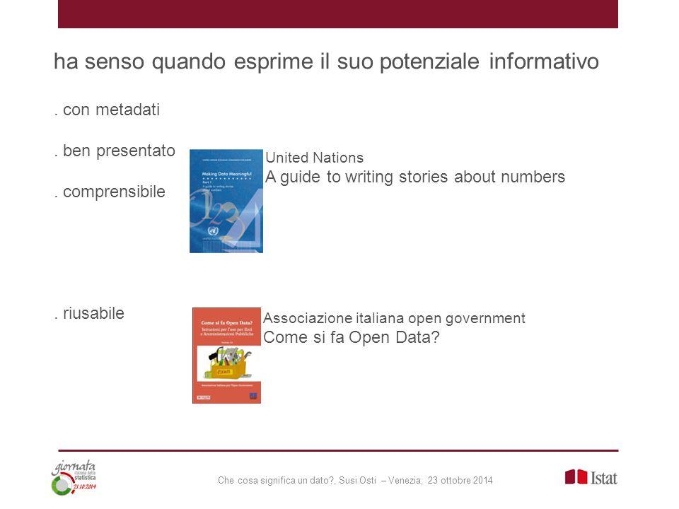Che cosa significa un dato?, Susi Osti – Venezia, 23 ottobre 2014 ha senso quando esprime il suo potenziale informativo. con metadati. ben presentato.
