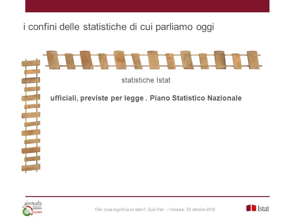 Che cosa significa un dato , Susi Osti – Venezia, 23 ottobre 2014 i confini delle statistiche di cui parliamo oggi statistiche Istat ufficiali, previste per legge.
