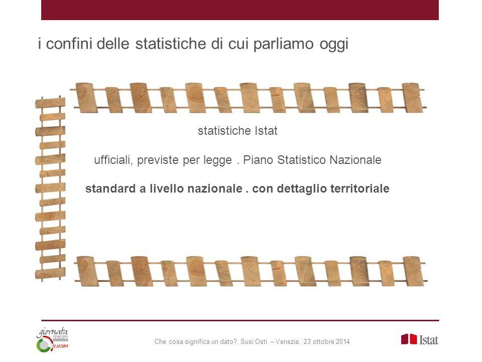 Che cosa significa un dato?, Susi Osti – Venezia, 23 ottobre 2014 i confini delle statistiche di cui parliamo oggi statistiche Istat ufficiali, previste per legge.