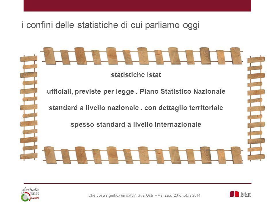 Che cosa significa un dato?, Susi Osti – Venezia, 23 ottobre 2014 un mondo di statistiche fuori statistiche Istat ufficiali, previste per legge.