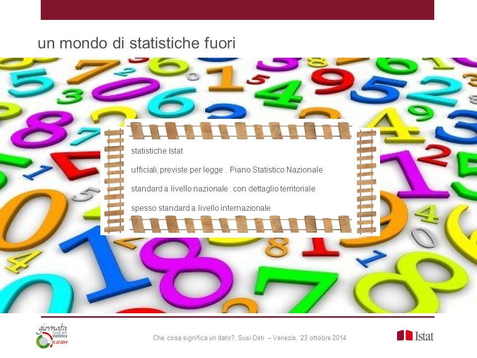 Che cosa significa un dato , Susi Osti – Venezia, 23 ottobre 2014 un mondo di statistiche fuori statistiche Istat ufficiali, previste per legge.