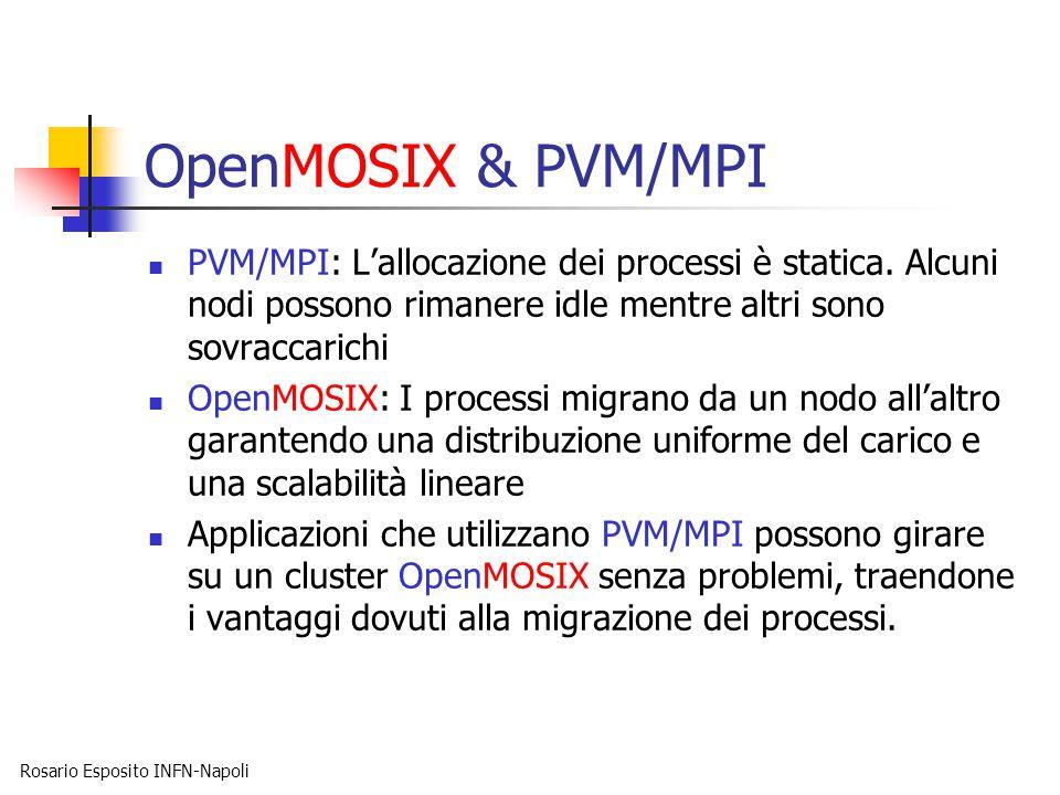 Rosario Esposito INFN-Napoli OpenMOSIX & PVM/MPI PVM/MPI: L'allocazione dei processi è statica. Alcuni nodi possono rimanere idle mentre altri sono so