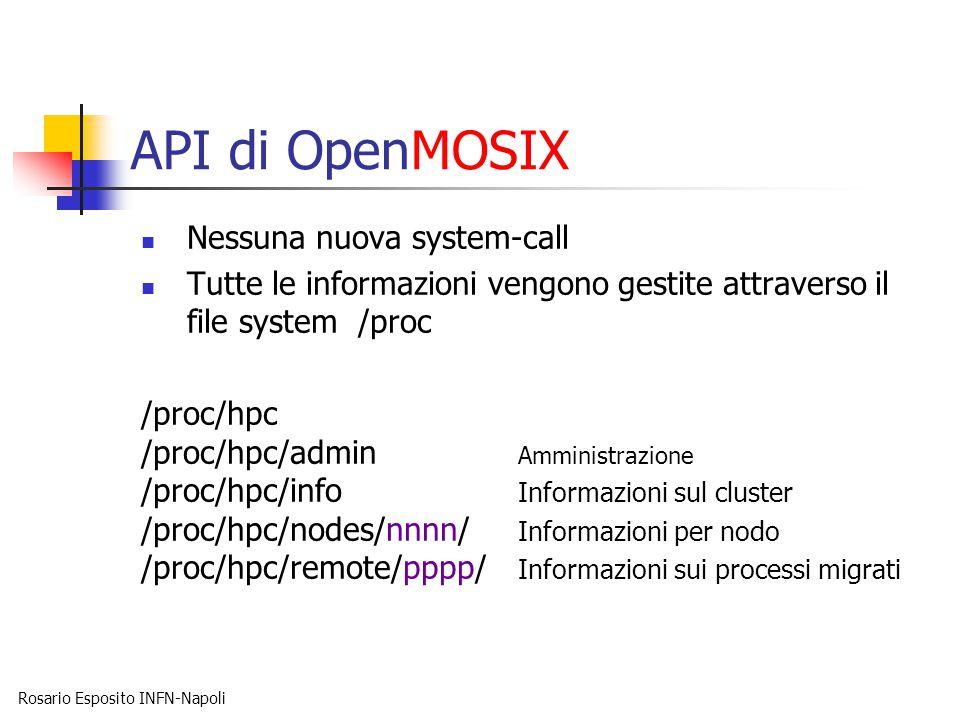 Rosario Esposito INFN-Napoli API di OpenMOSIX Nessuna nuova system-call Tutte le informazioni vengono gestite attraverso il file system /proc /proc/hpc /proc/hpc/admin Amministrazione /proc/hpc/info Informazioni sul cluster /proc/hpc/nodes/nnnn/ Informazioni per nodo /proc/hpc/remote/pppp/ Informazioni sui processi migrati