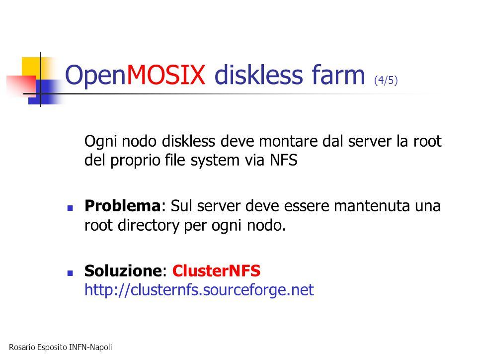 Rosario Esposito INFN-Napoli OpenMOSIX diskless farm (4/5) Ogni nodo diskless deve montare dal server la root del proprio file system via NFS Problema: Sul server deve essere mantenuta una root directory per ogni nodo.