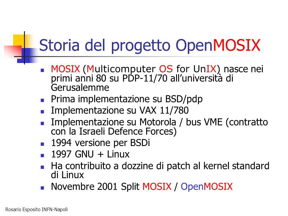 Rosario Esposito INFN-Napoli Storia del progetto OpenMOSIX MOSIX ( Multicomputer OS for UnIX ) nasce nei primi anni 80 su PDP-11/70 all'università di Gerusalemme Prima implementazione su BSD/pdp Implementazione su VAX 11/780 Implementazione su Motorola / bus VME (contratto con la Israeli Defence Forces) 1994 versione per BSDi 1997 GNU + Linux Ha contribuito a dozzine di patch al kernel standard di Linux Novembre 2001 Split MOSIX / OpenMOSIX