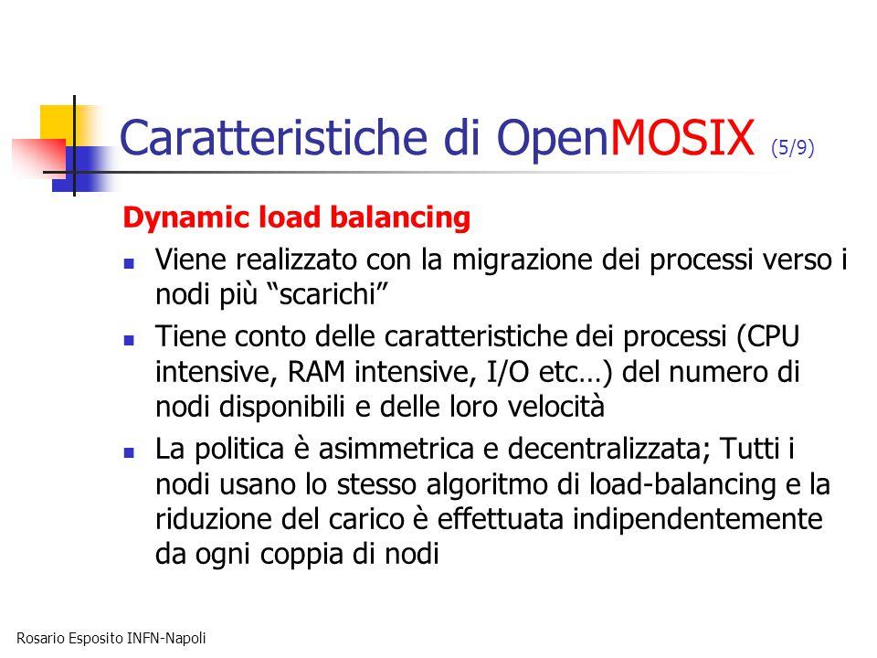 Rosario Esposito INFN-Napoli Caratteristiche di OpenMOSIX (5/9) Dynamic load balancing Viene realizzato con la migrazione dei processi verso i nodi pi