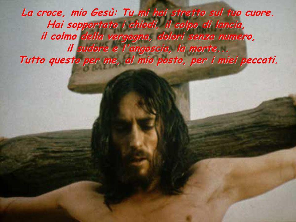 La croce, mio Gesù: Tu mi hai stretto sul tuo cuore. Hai sopportato i chiodi, il colpo di lancia, il colmo della vergogna, dolori senza numero, il sud