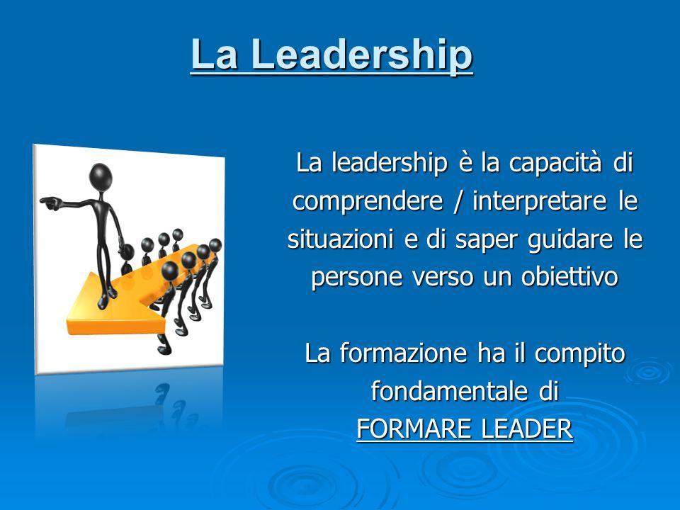 La leadership è la capacità di comprendere / interpretare le situazioni e di saper guidare le persone verso un obiettivo La formazione ha il compito f