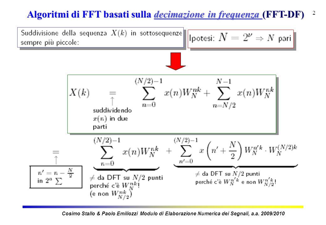 2 Algoritmi di FFT basati sulla decimazione in frequenza (FFT-DF) Cosimo Stallo & Paolo Emiliozzi Modulo di Elaborazione Numerica dei Segnali, a.a.