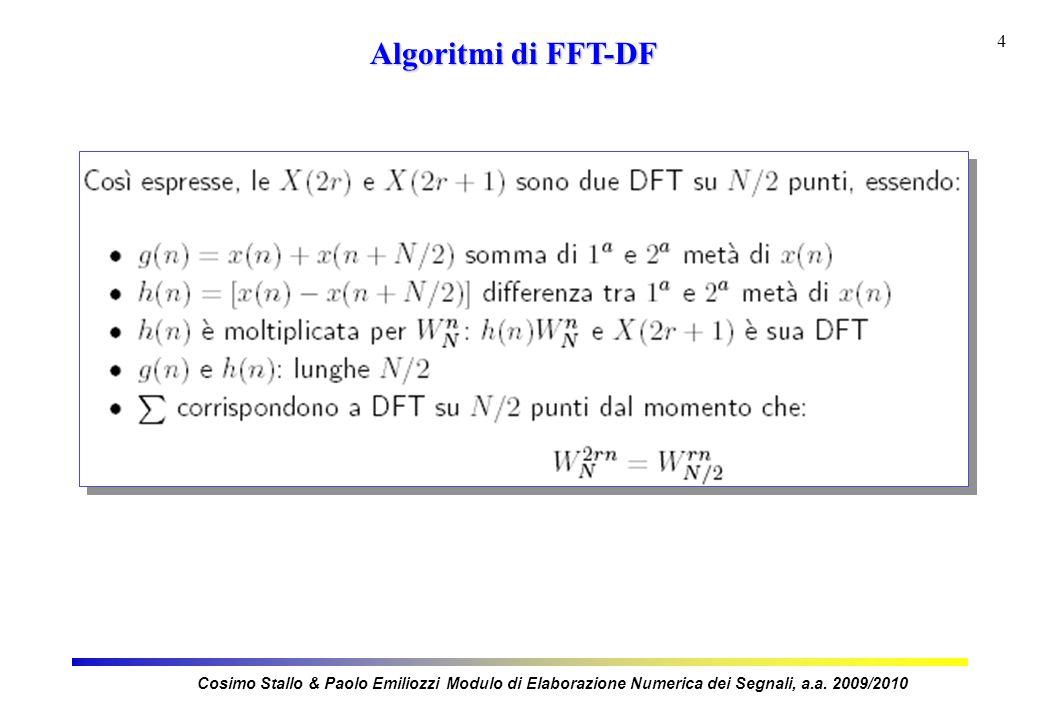 4 Algoritmi di FFT-DF Cosimo Stallo & Paolo Emiliozzi Modulo di Elaborazione Numerica dei Segnali, a.a.