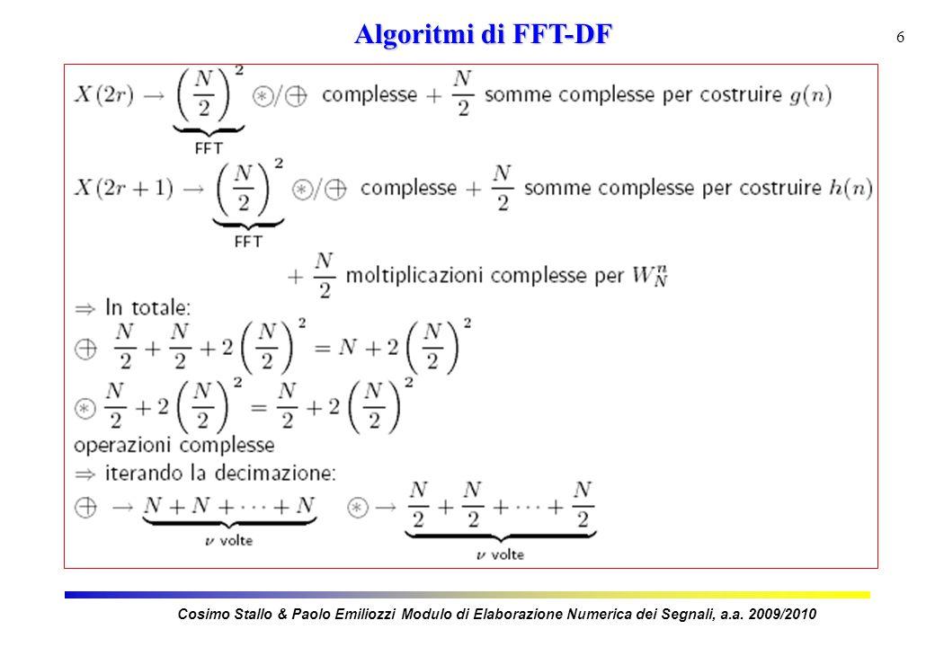 7 Algoritmi di FFT-DF Cosimo Stallo & Paolo Emiliozzi Modulo di Elaborazione Numerica dei Segnali, a.a.