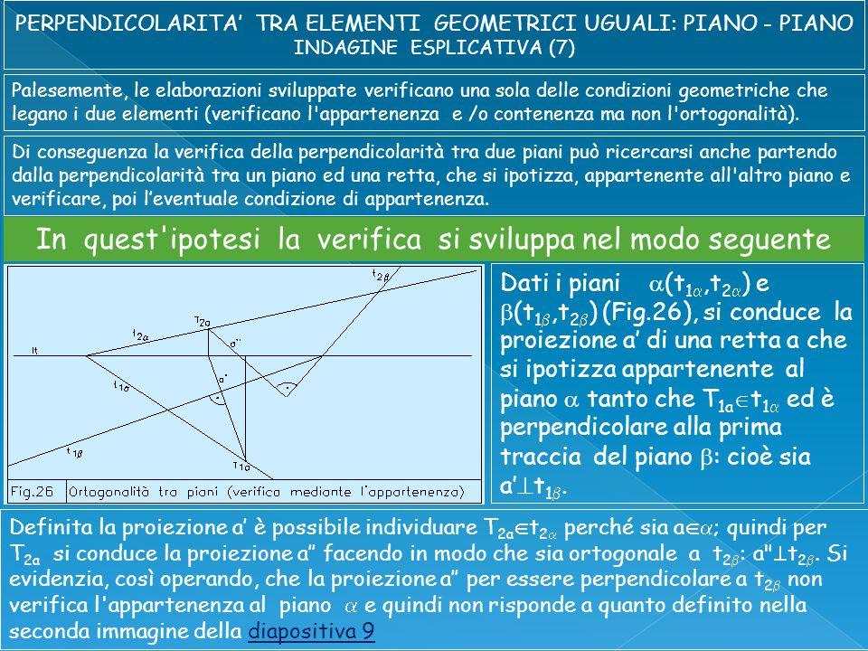Palesemente, le elaborazioni sviluppate verificano una sola delle condizioni geometriche che legano i due elementi (verificano l appartenenza e /o contenenza ma non l ortogonalità).