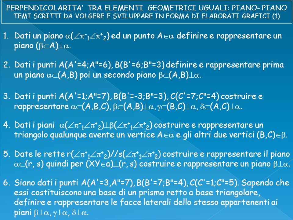 1.Dati un piano  (  - 1  + 2 ) ed un punto A  definire e rappresentare un piano (  A) .