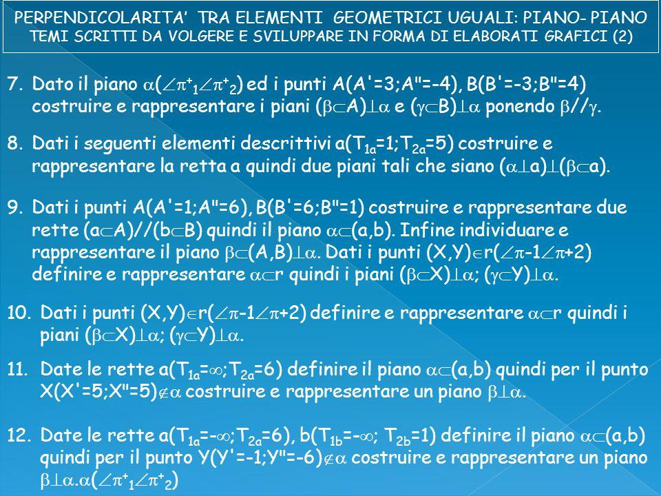 7.Dato il piano  (  + 1  + 2 ) ed i punti A(A =3;A =-4), B(B =-3;B =4) costruire e rappresentare i piani (  A)  e (  B)  ponendo  // .