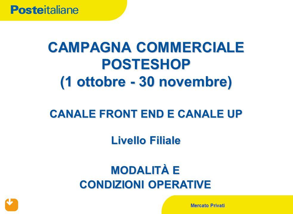 Mercato Privati CAMPAGNA COMMERCIALE POSTESHOP (1 ottobre - 30 novembre) CANALE FRONT END E CANALE UP Livello Filiale MODALITÀ E CONDIZIONI OPERATIVE