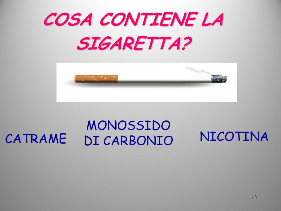 COSA CONTIENE LA SIGARETTA? CATRAME MONOSSIDO DI CARBONIO NICOTINA 13