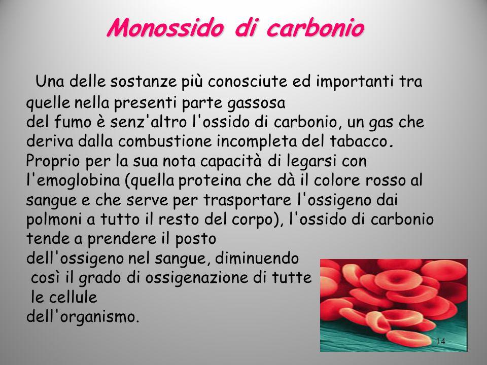 Monossido di carbonio Una delle sostanze più conosciute ed importanti tra quelle nella presenti parte gassosa. del fumo è senz'altro l'ossido di carbo