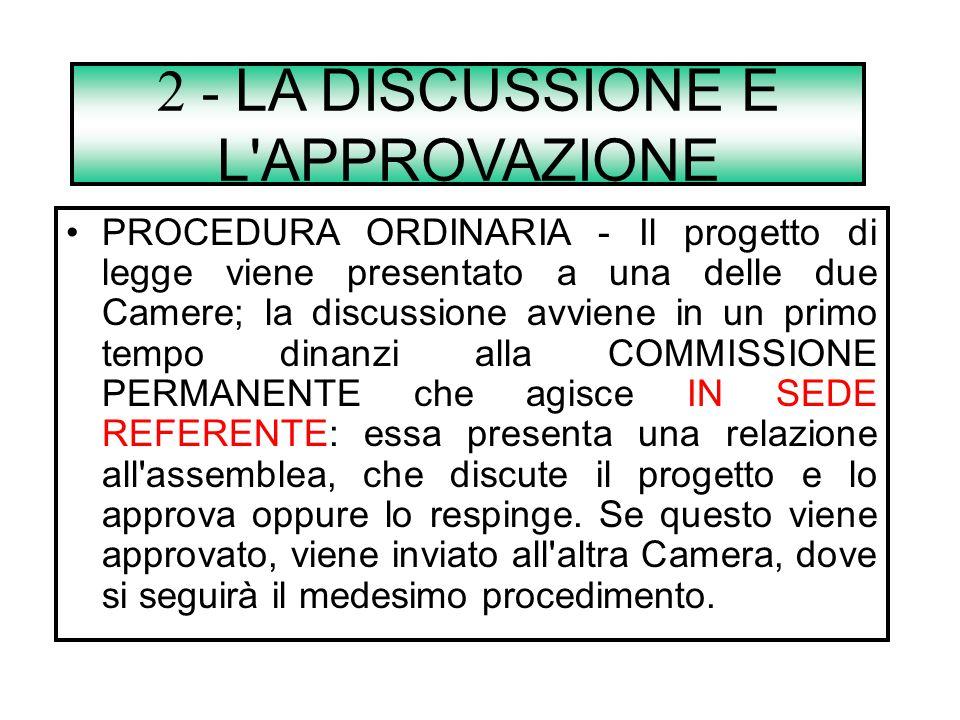 1 - L'INIZIATIVA LEGISLATIVA è la facoltà di presentare a uno dei due rami del Parlamento una proposta di legge. Tale facoltà viene attribuita dall'ar