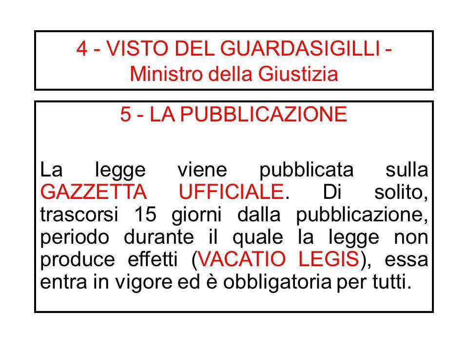 3 – LA PROMULGAZIONE E' una dichiarazione solenne con cui il Presidente della Repubblica afferma l'avvenuta approvazione della legge. Al Presidente sp