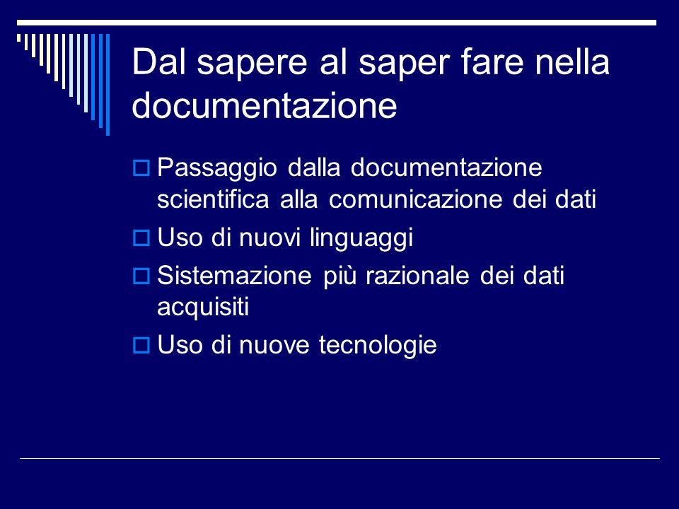 Dal sapere al saper fare nella documentazione  Passaggio dalla documentazione scientifica alla comunicazione dei dati  Uso di nuovi linguaggi  Sist