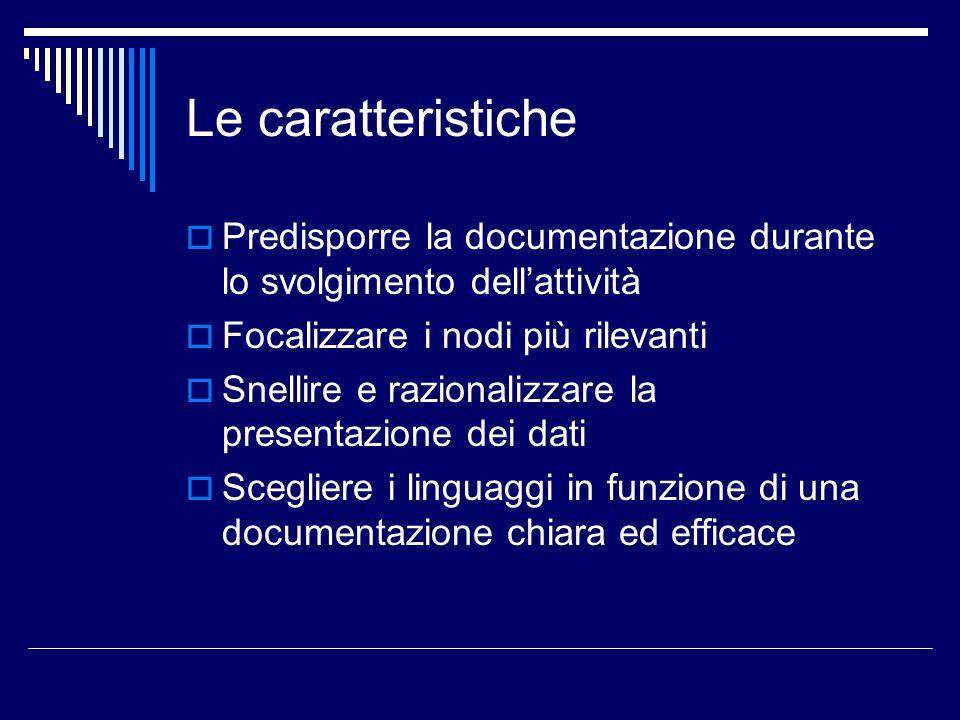 Le caratteristiche  Predisporre la documentazione durante lo svolgimento dell'attività  Focalizzare i nodi più rilevanti  Snellire e razionalizzare la presentazione dei dati  Scegliere i linguaggi in funzione di una documentazione chiara ed efficace