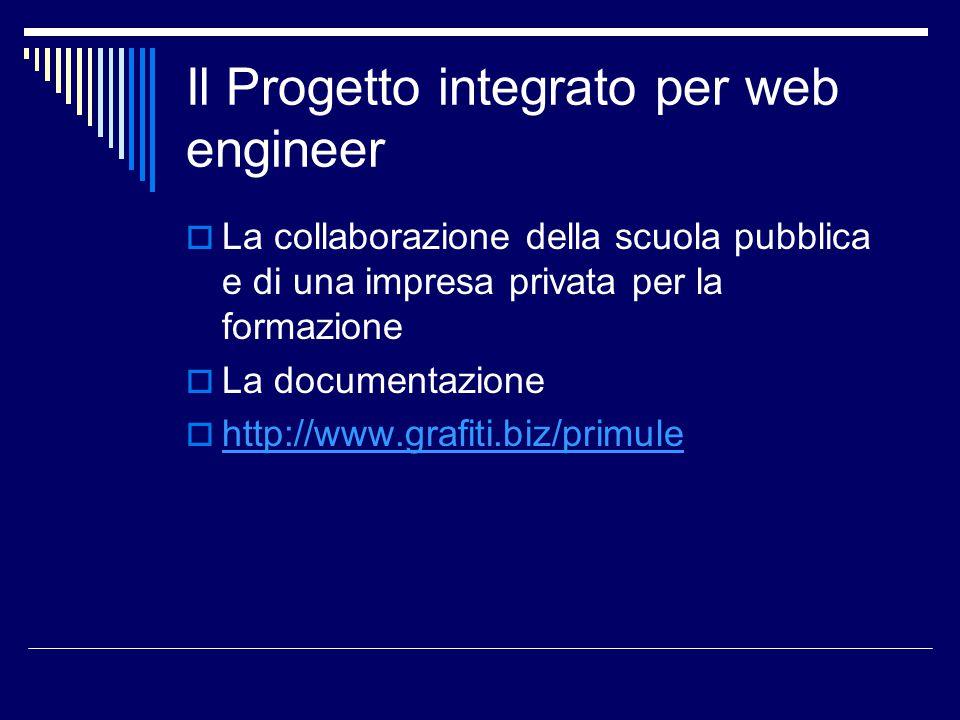 Il Progetto integrato per web engineer  La collaborazione della scuola pubblica e di una impresa privata per la formazione  La documentazione  http://www.grafiti.biz/primule http://www.grafiti.biz/primule