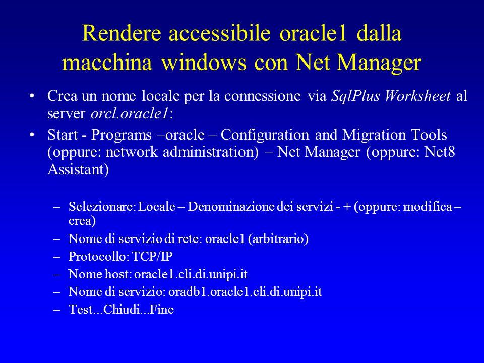 Rendere accessibile oracle1 dalla macchina windows con Net Manager Crea un nome locale per la connessione via SqlPlus Worksheet al server orcl.oracle1: Start - Programs –oracle – Configuration and Migration Tools (oppure: network administration) – Net Manager (oppure: Net8 Assistant) –Selezionare: Locale – Denominazione dei servizi - + (oppure: modifica – crea) –Nome di servizio di rete: oracle1 (arbitrario) –Protocollo: TCP/IP –Nome host: oracle1.cli.di.unipi.it –Nome di servizio: oradb1.oracle1.cli.di.unipi.it –Test...Chiudi...Fine