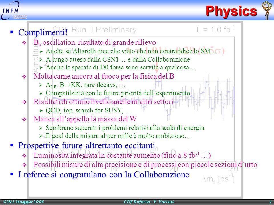 CSN1 Maggio 2006 CDF Referee - V. Vercesi 2Physics  Complimenti!  B s oscillation, risultato di grande rilievo  Anche se Altarelli dice che visto c