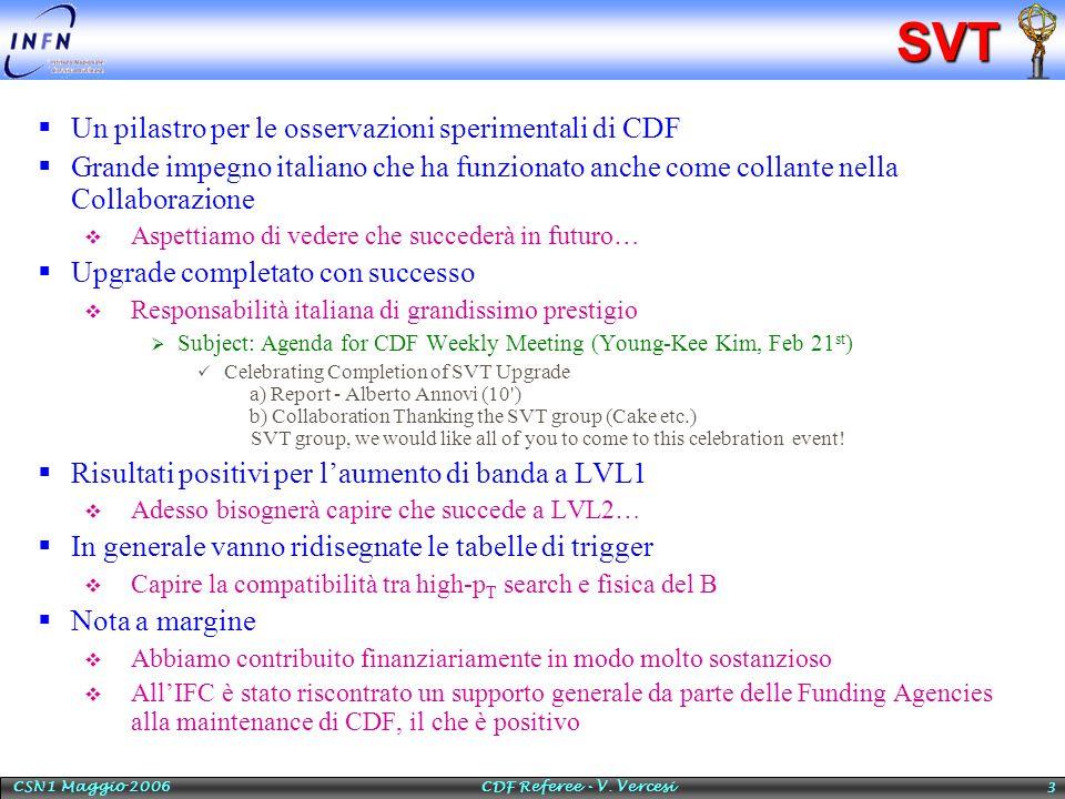 CSN1 Maggio 2006 CDF Referee - V. Vercesi 3SVT  Un pilastro per le osservazioni sperimentali di CDF  Grande impegno italiano che ha funzionato anche