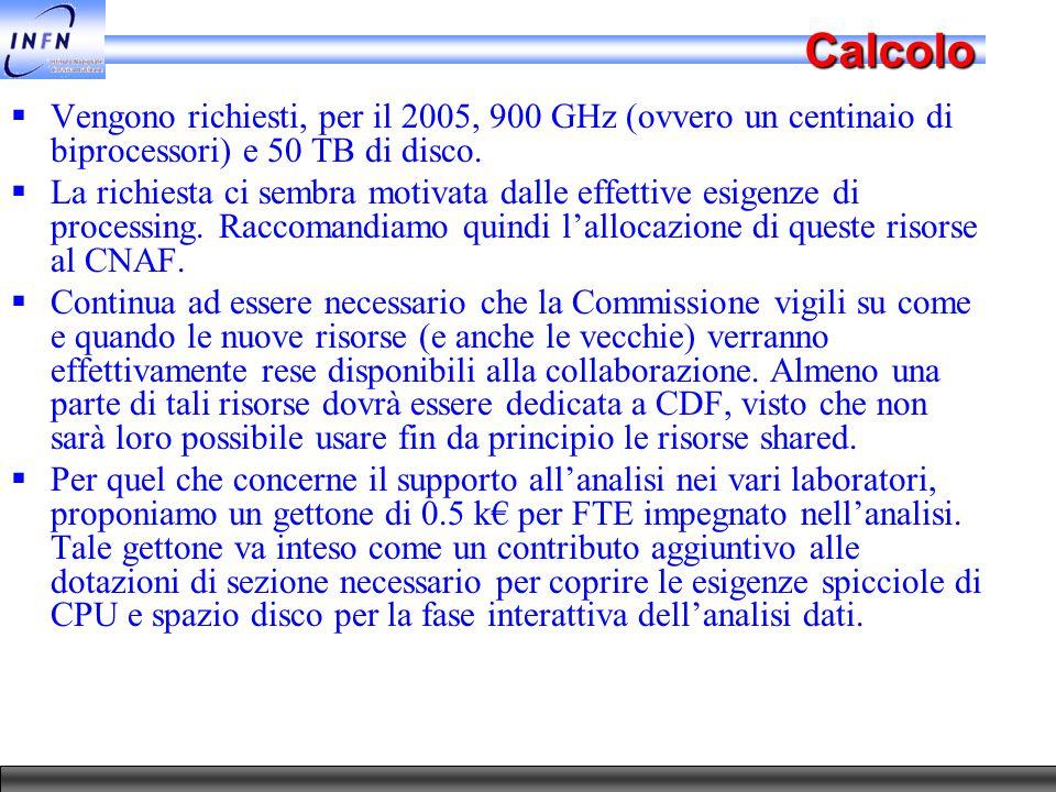 Calcolo  Vengono richiesti, per il 2005, 900 GHz (ovvero un centinaio di biprocessori) e 50 TB di disco.