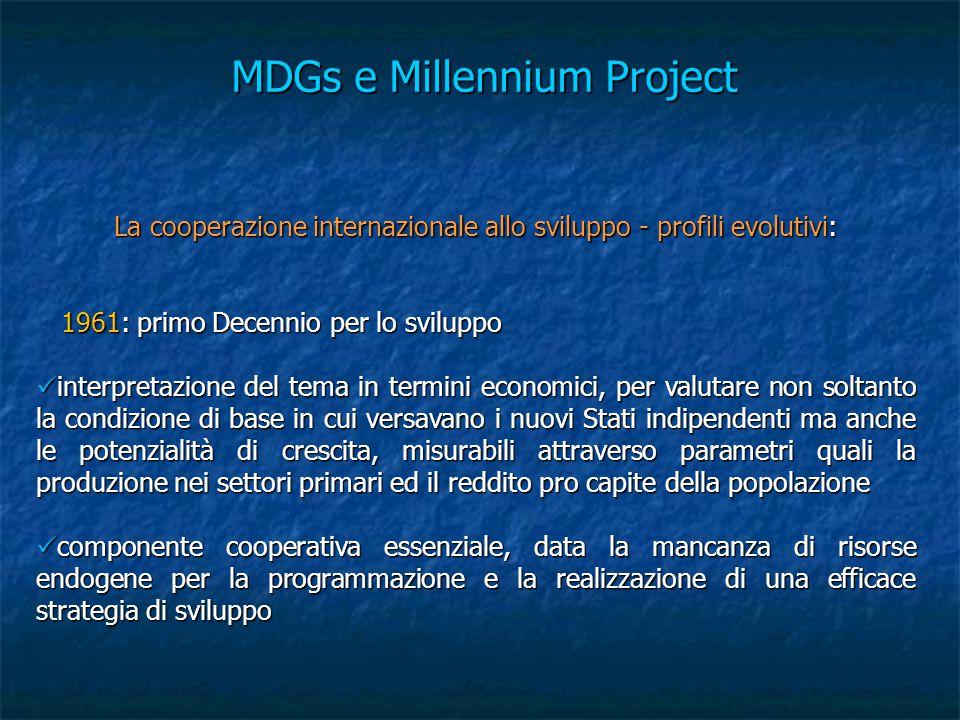 MDGs e Millennium Project La cooperazione internazionale allo sviluppo - profili evolutivi: 1961: primo Decennio per lo sviluppo 1961: primo Decennio