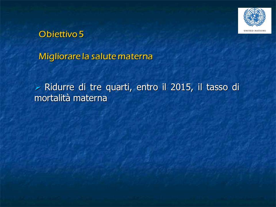  Ridurre di tre quarti, entro il 2015, il tasso di mortalità materna Obiettivo 5 Migliorare la salute materna