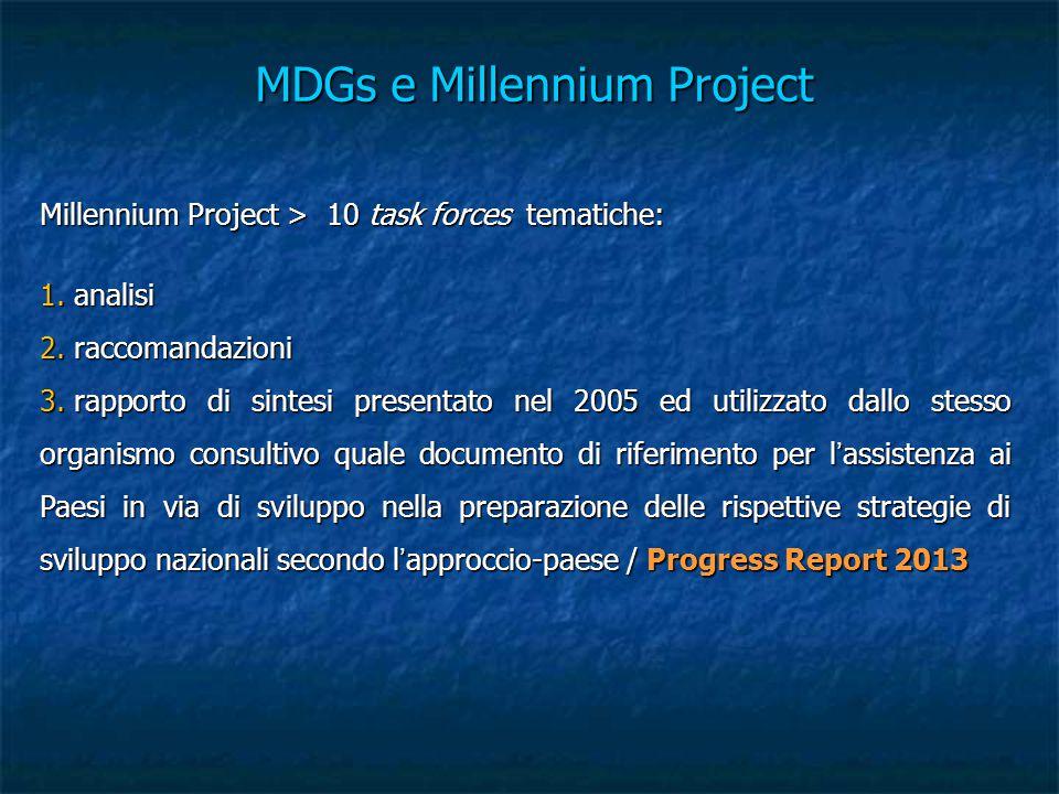 MDGs e Millennium Project Millennium Project > 10 task forces tematiche: 1. analisi 2. raccomandazioni 3. rapporto di sintesi presentato nel 2005 ed u