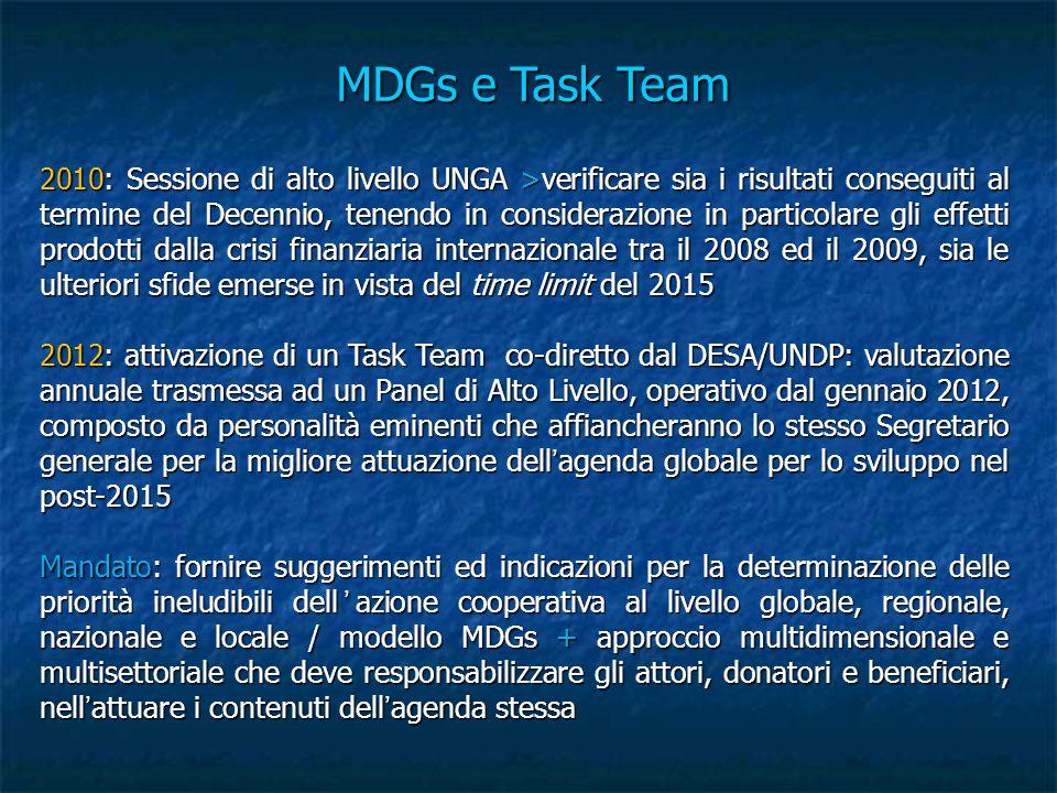 MDGs e Task Team 2010: Sessione di alto livello UNGA >verificare sia i risultati conseguiti al termine del Decennio, tenendo in considerazione in particolare gli effetti prodotti dalla crisi finanziaria internazionale tra il 2008 ed il 2009, sia le ulteriori sfide emerse in vista del time limit del 2015 2012: attivazione di un Task Team co-diretto dal DESA/UNDP: valutazione annuale trasmessa ad un Panel di Alto Livello, operativo dal gennaio 2012, composto da personalità eminenti che affiancheranno lo stesso Segretario generale per la migliore attuazione dell'agenda globale per lo sviluppo nel post-2015 Mandato: fornire suggerimenti ed indicazioni per la determinazione delle priorità ineludibili dell'azione cooperativa al livello globale, regionale, nazionale e locale / modello MDGs + approccio multidimensionale e multisettoriale che deve responsabilizzare gli attori, donatori e beneficiari, nell'attuare i contenuti dell'agenda stessa