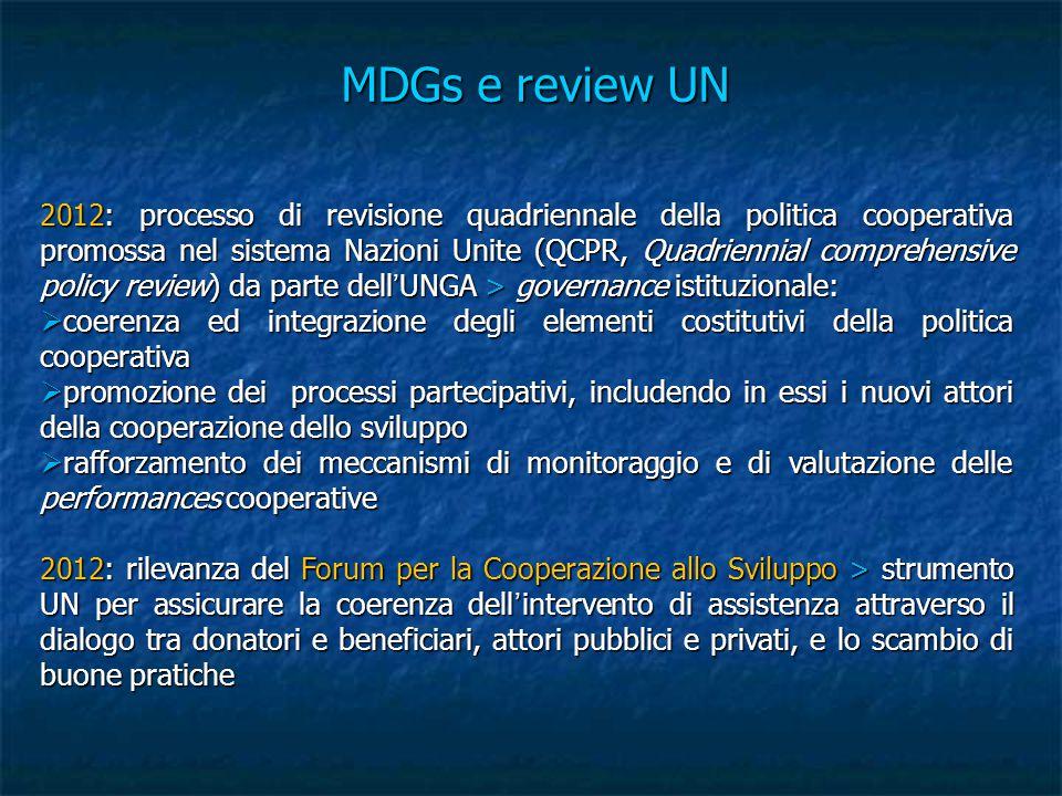 MDGs e review UN 2012: processo di revisione quadriennale della politica cooperativa promossa nel sistema Nazioni Unite (QCPR, Quadriennial comprehens