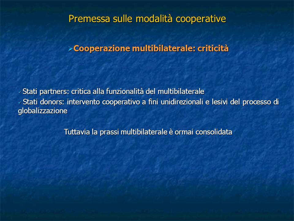 Premessa sulle modalità cooperative  Cooperazione multibilaterale: criticità Stati partners: critica alla funzionalità del multibilaterale Stati part