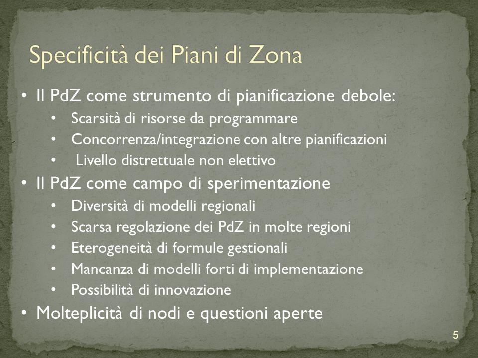 5 Il PdZ come strumento di pianificazione debole: Scarsità di risorse da programmare Concorrenza/integrazione con altre pianificazioni Livello distrettuale non elettivo Il PdZ come campo di sperimentazione Diversità di modelli regionali Scarsa regolazione dei PdZ in molte regioni Eterogeneità di formule gestionali Mancanza di modelli forti di implementazione Possibilità di innovazione Molteplicità di nodi e questioni aperte