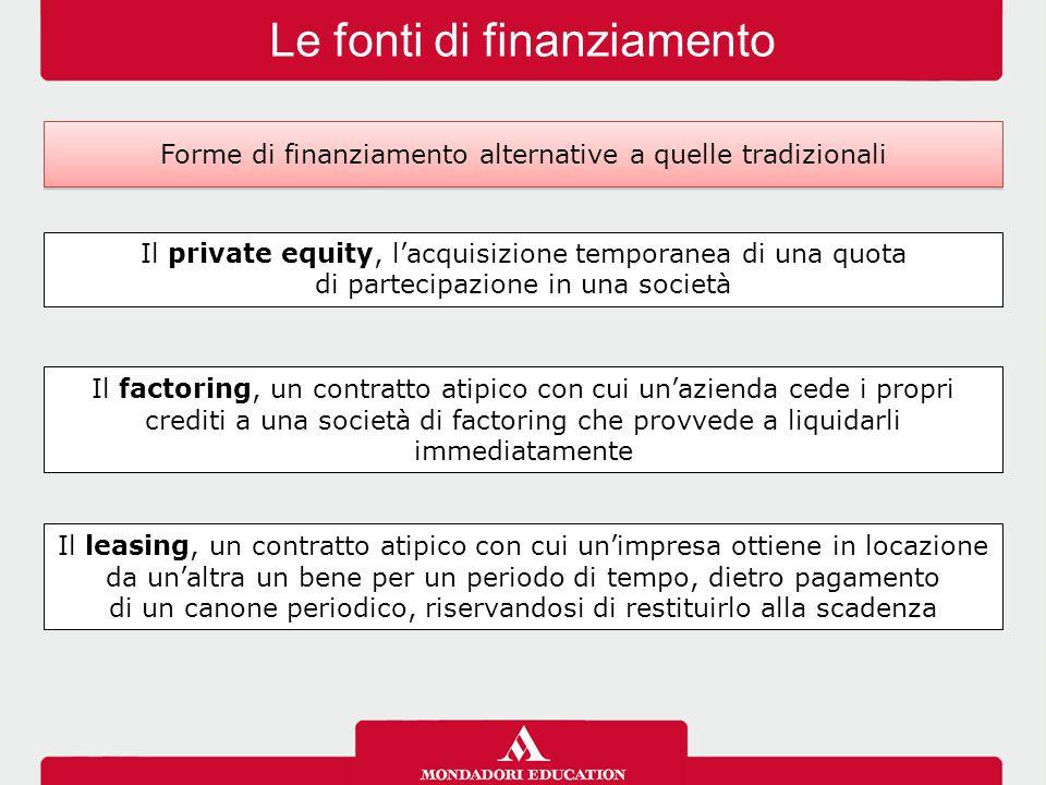 Le fonti di finanziamento Forme di finanziamento alternative a quelle tradizionali Il private equity, l'acquisizione temporanea di una quota di partec