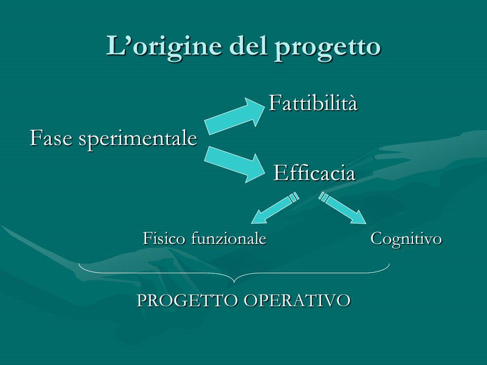 L'origine del progetto Fattibilità Fattibilità Fase sperimentale Efficacia Fisico funzionale Cognitivo Fisico funzionale Cognitivo PROGETTO OPERATIVO