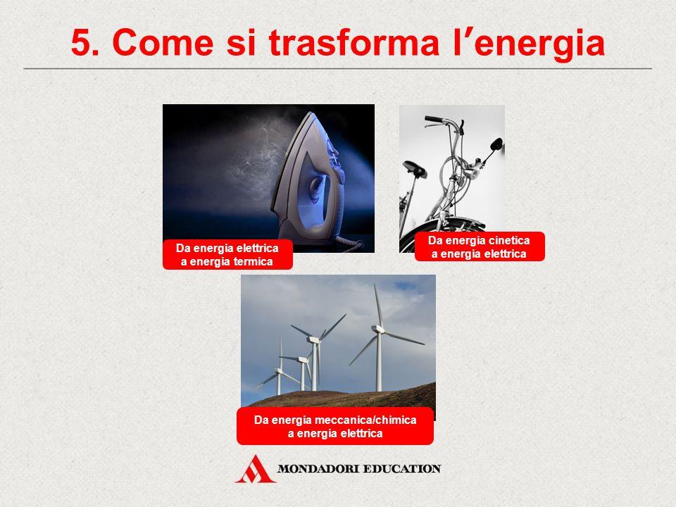 5. Come si trasforma l'energia Da energia potenziale a energia cinetica Da energia cinetica a energia termica Da energia chimica a energia meccanica
