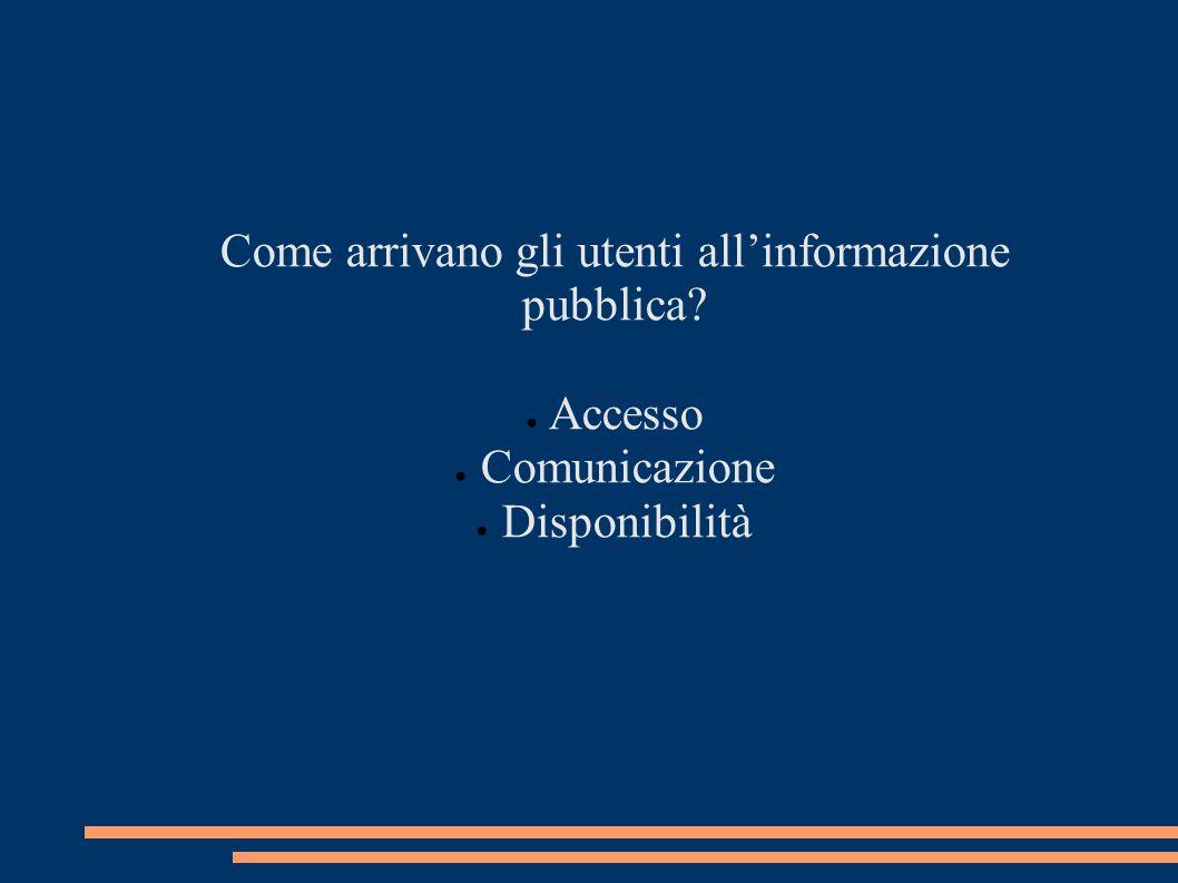 Come arrivano gli utenti all'informazione pubblica? ● Accesso ● Comunicazione ● Disponibilità