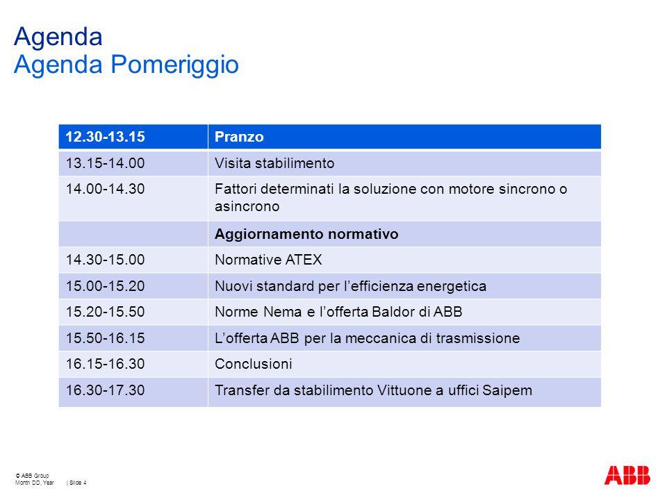 Agenda Agenda Pomeriggio Month DD, Year | Slide 4 © ABB Group 12.30-13.15Pranzo 13.15-14.00Visita stabilimento 14.00-14.30Fattori determinati la soluz