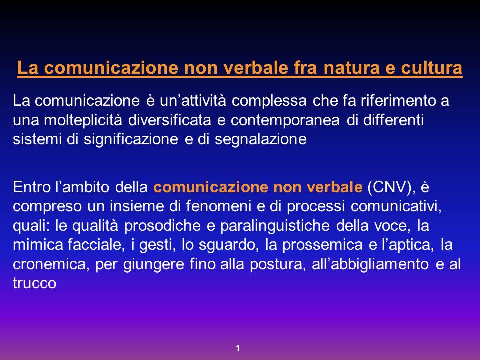 2 Origine della CNV Secondo la psicologia ingenua è più spontanea e naturale della comunicazione verbale, meno soggetta a forme di controllo volontario rappresenta una sorta di linguaggio del corpo e, in quanto tale, universale, esito dell'evoluzione filogenetica e regolato da precisi processi e meccanismi nervosi