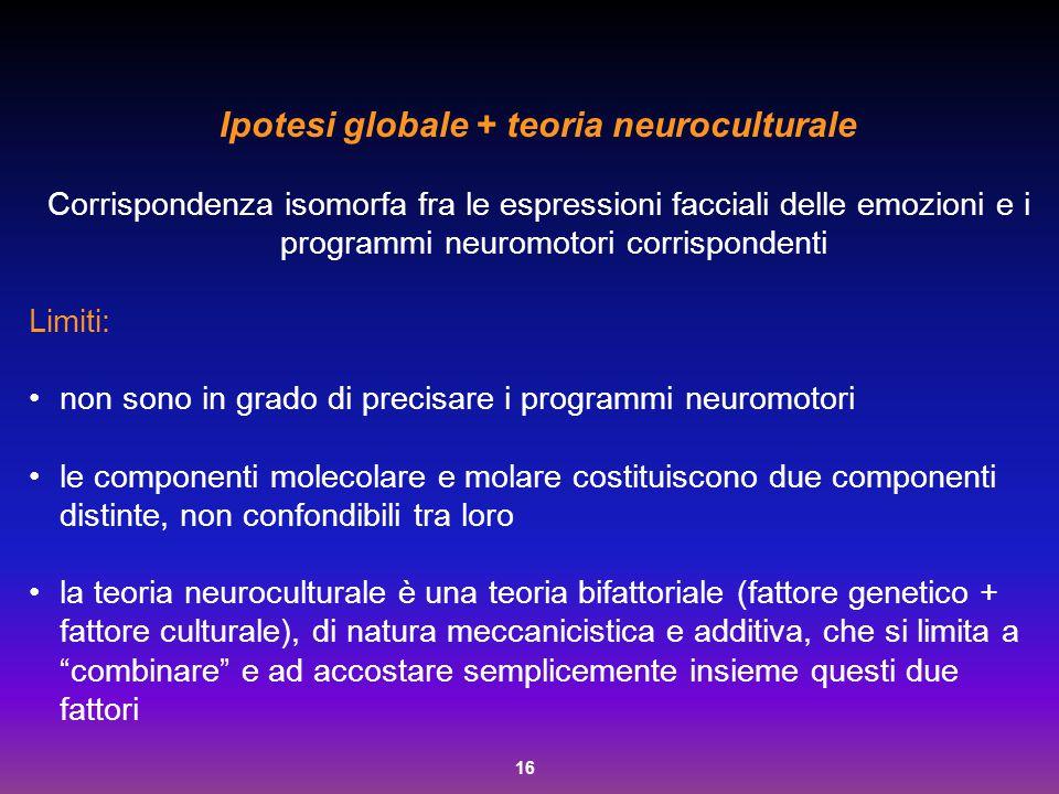16 Ipotesi globale + teoria neuroculturale Corrispondenza isomorfa fra le espressioni facciali delle emozioni e i programmi neuromotori corrispondenti