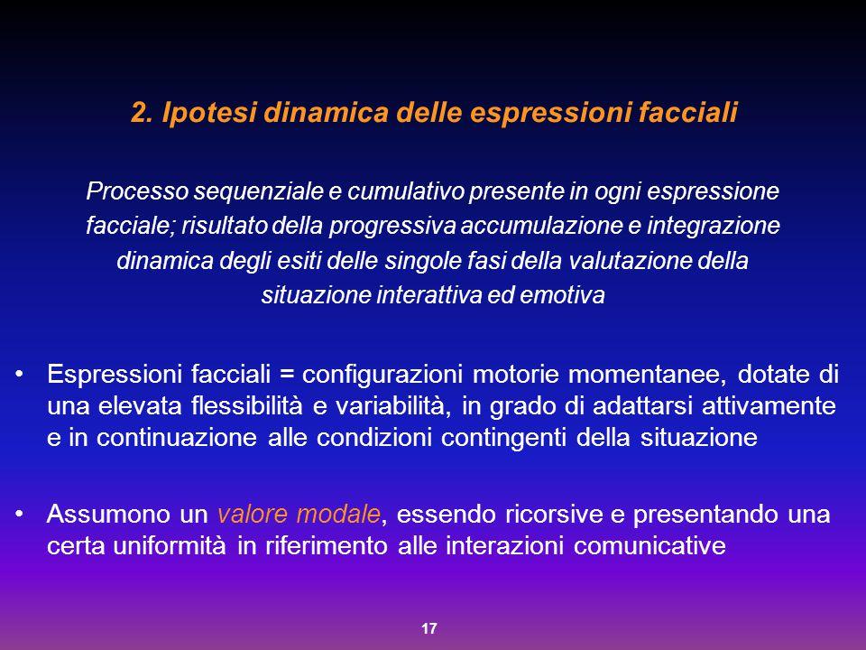 17 2.Ipotesi dinamica delle espressioni facciali Processo sequenziale e cumulativo presente in ogni espressione facciale; risultato della progressiva